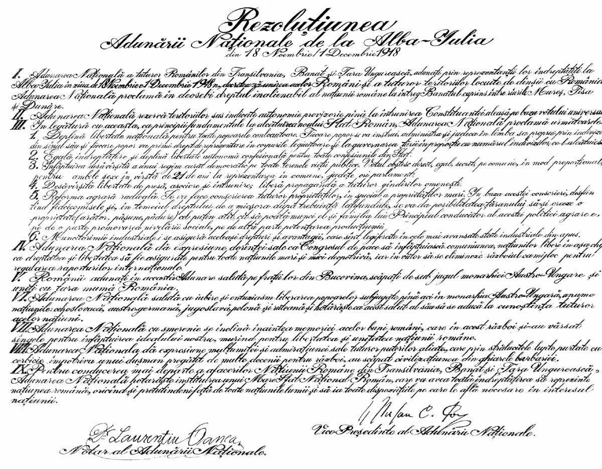 Textul Rezoluției de la Alba Iulia